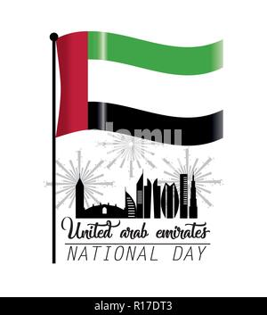 uae flag with building and firewords to national day - Stock Photo