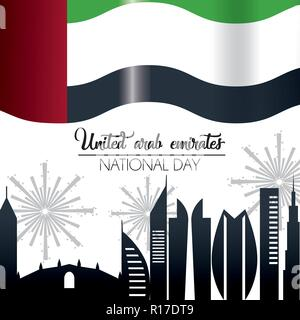 uae flag with building and firewords celebration - Stock Photo