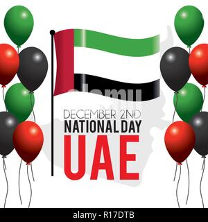uae flag with balloons to national day - Stock Photo
