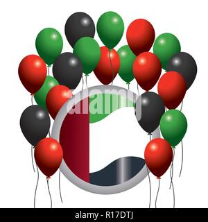 uae flag emblem with balloons to national day - Stock Photo
