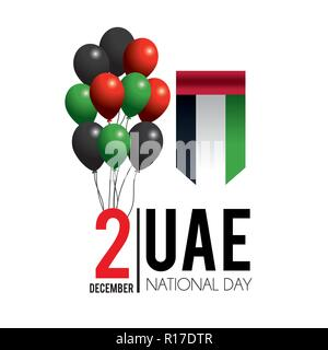 uae flag with balloons to celebrate national day - Stock Photo