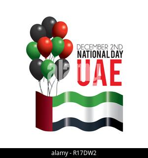 uae flag with balloons to celebrate patriotic day - Stock Photo