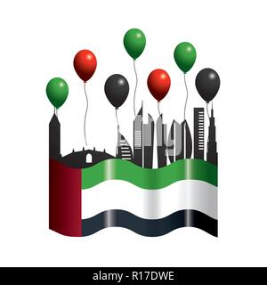 uae with flag and balloons to patriotic day - Stock Photo