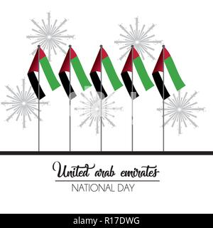 uae flags to firewords to national day celebration - Stock Photo