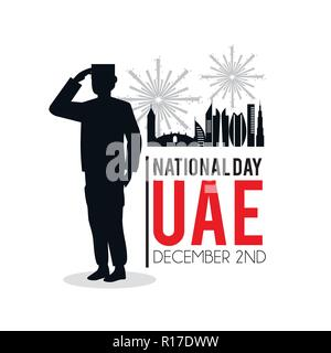 soldier with uae patriotic national day - Stock Photo