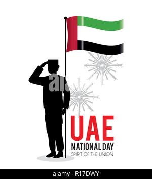 soldier with uae flag to celebrate national day - Stock Photo