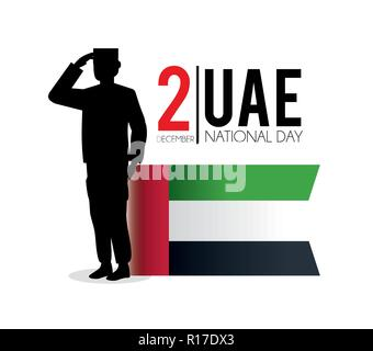 uae flag and soldier to celebrate national day - Stock Photo