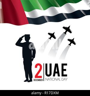 uae flag with soldier and military airplanes to national day - Stock Photo