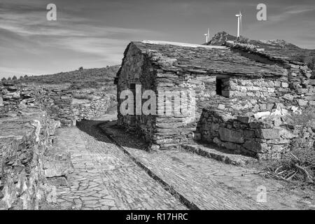 MOUNT MONTOUTO, SPAIN - AUGUST 26, 2018: Old chapel an pilgrim hospital on Mount Montouto, Camino de Santiago trail between Fonsagrada and O Cadavo on - Stock Photo