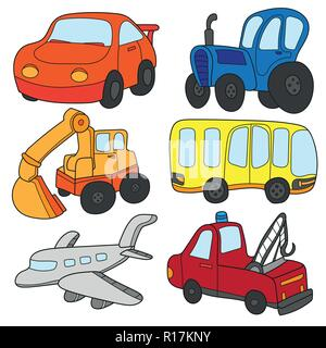 Cartoon cars collection. Vector of Transportation theme with Car, truck, bus - Stock Photo