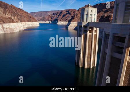 The Hoover Dam along the Colorado River, between Arizona and Nevada and construction of the Mike O'Callaghan–Pat Tillman Memorial Bridge, January 2010 - Stock Photo