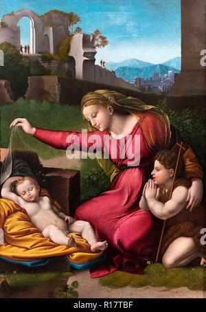 The Virgin of the Veil by Raphael (Raffaello Sanzio da Urbino, 1483–1520), oil on wood, early 16th century. - Stock Photo