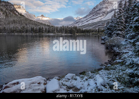 Swiftwater Lake after a snow storm. Glacier National Park, Montana - Stock Photo