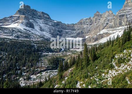 View of Iceberg Peak and cirqu from the Iceberg-Ptamigan Trail, Glacier National Park, Montana - Stock Photo