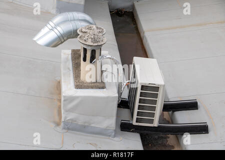 The chimneys with air conditioners on house roof. - Stock Photo