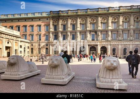 16 September 2018: Stockholm, Sweden - Carved concrete bollards at Stockholm Royal Palace, Sweden. - Stock Photo