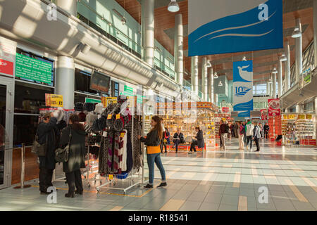 18 September 2018: St Petersburg, Russia - Souvenir shops at Marine Facade, the St Petersburg cruise terminal. - Stock Photo