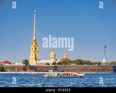 19 September 2018: St Petersburg, Russia - Peter and Paul Fortress, Zayachy Island in the River Neva, from the river. - Stock Photo