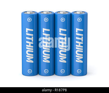 3d rendered four lithium aa batteries on a white background. - Stock Photo