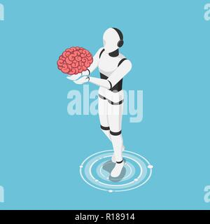 Flat 3d isometric ai robot holding human brain. Artificial intelligence technology and machine learning concept. - Stock Photo