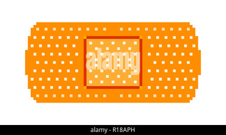 Pixel art: a brown band-aid (adhesive bandage with a gauze pad in the center, used to cover minor abrasions and cuts). - Stock Photo
