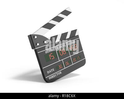 movie clapper board high quality 3d render isolated on white - Stock Photo