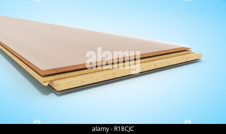 Laminate on layers 3d render on blue background - Stock Photo