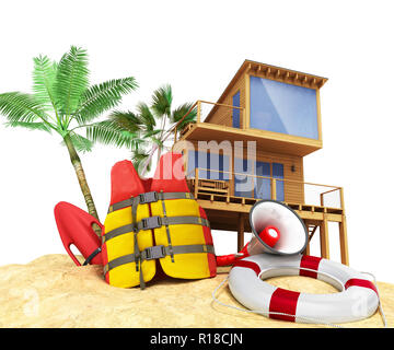 Secure beach concept Life jacket life ring and a horn and other objects on the sand 3render on white - Stock Photo