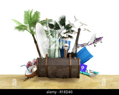 Concept of travel and tourism attractions and brown suitcase for travel 3D illustration on white - Stock Photo