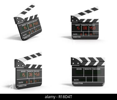movie clapper board collection high quality 3d render isolated on white - Stock Photo