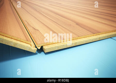 installing wooden laminate flooring with insulation and soundproofing sheets laying laminate flooring Step by Step 3d render - Stock Photo