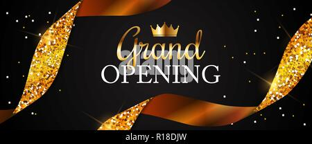 Grand Opening Card with Golden Ribbon Background. Vector Illustration - Stock Photo