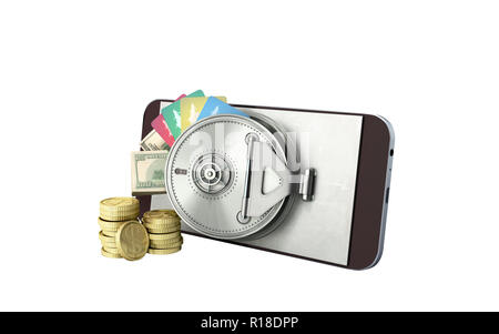mobile banking concept mobile phone with money dollar stacks coins and credit cards 3d render on white no shadow - Stock Photo