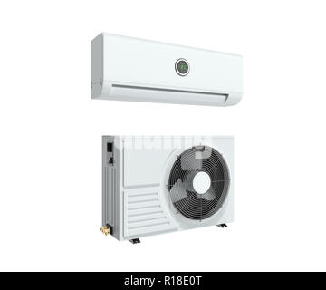 air conditioning unit 3d render on blue background Stock Photo