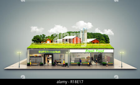 the concept of ecologically pure food showcases grocery supermarkets with a farm on the roof 3d render on grey - Stock Photo