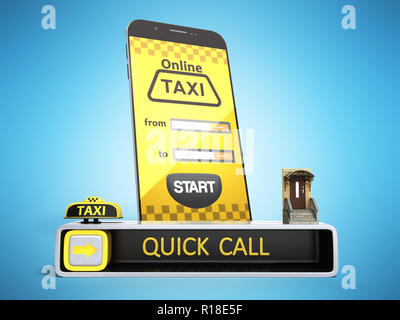 Ordering a taxi cab online internet service transportation concept navigation pin pointer with checker pattern and yellow taxi and phone 3d render on  - Stock Photo