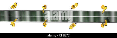 automated industrial conveyor top view 3d rendr on white no shadow - Stock Photo