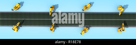 automated industrial conveyor top view 3d rendr on blue - Stock Photo