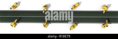 automated industrial conveyor top view 3d rendr on white - Stock Photo