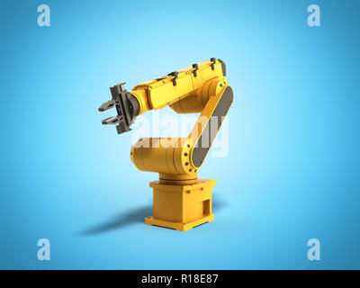 Industrial robot on blue background 3D rendering - Stock Photo