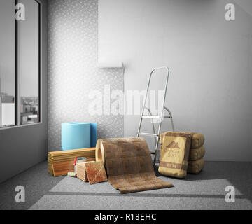 Concept of repair work Construction materials isolated on white 3D rendering on interior - Stock Photo