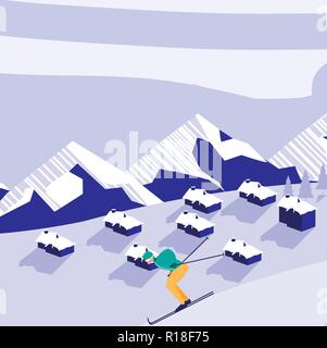 snow landscape with man skiing and houses, colorful design. vector illustration - Stock Photo