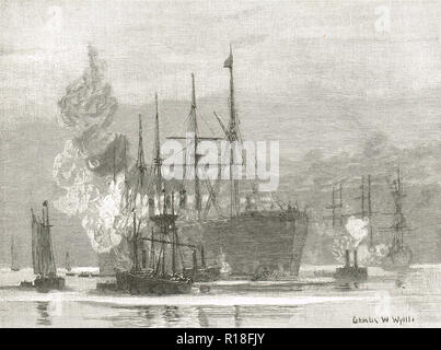 Arrival of the Great Eastern at Trinity Bay, Newfoundland and Labrador province of Canada, 27 July 1866 - Stock Photo