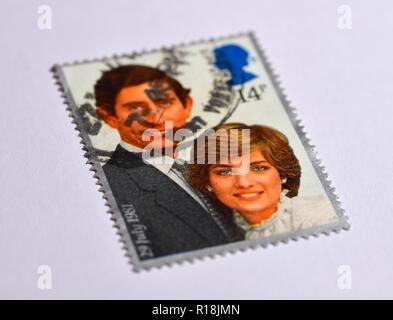 Charles and Diana wedding UK Royal Stamps - Stock Photo