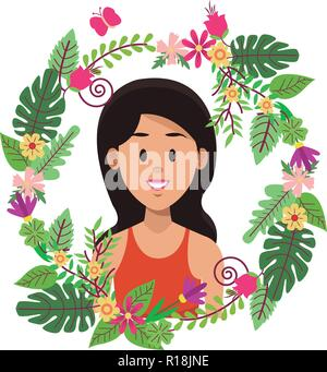 Woman face cartoon on leaves and wreath flowers ornament vector illustration graphic design - Stock Photo