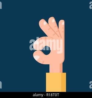 OK hand Flat icon. Isolated Vector symbol - Stock Photo