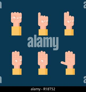 Set of counting hand signs. Communication concept. - Stock Photo
