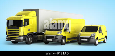 3D rendering of a truck a van and a lorry against a gradient background - Stock Photo