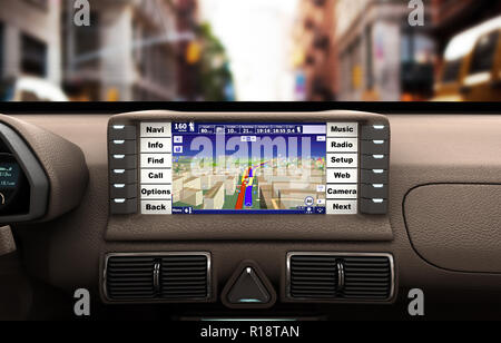 Navigation device in the car 3d illustration - Stock Photo