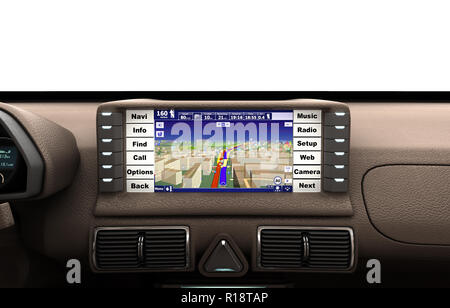 Navigation device in the car 3d render - Stock Photo